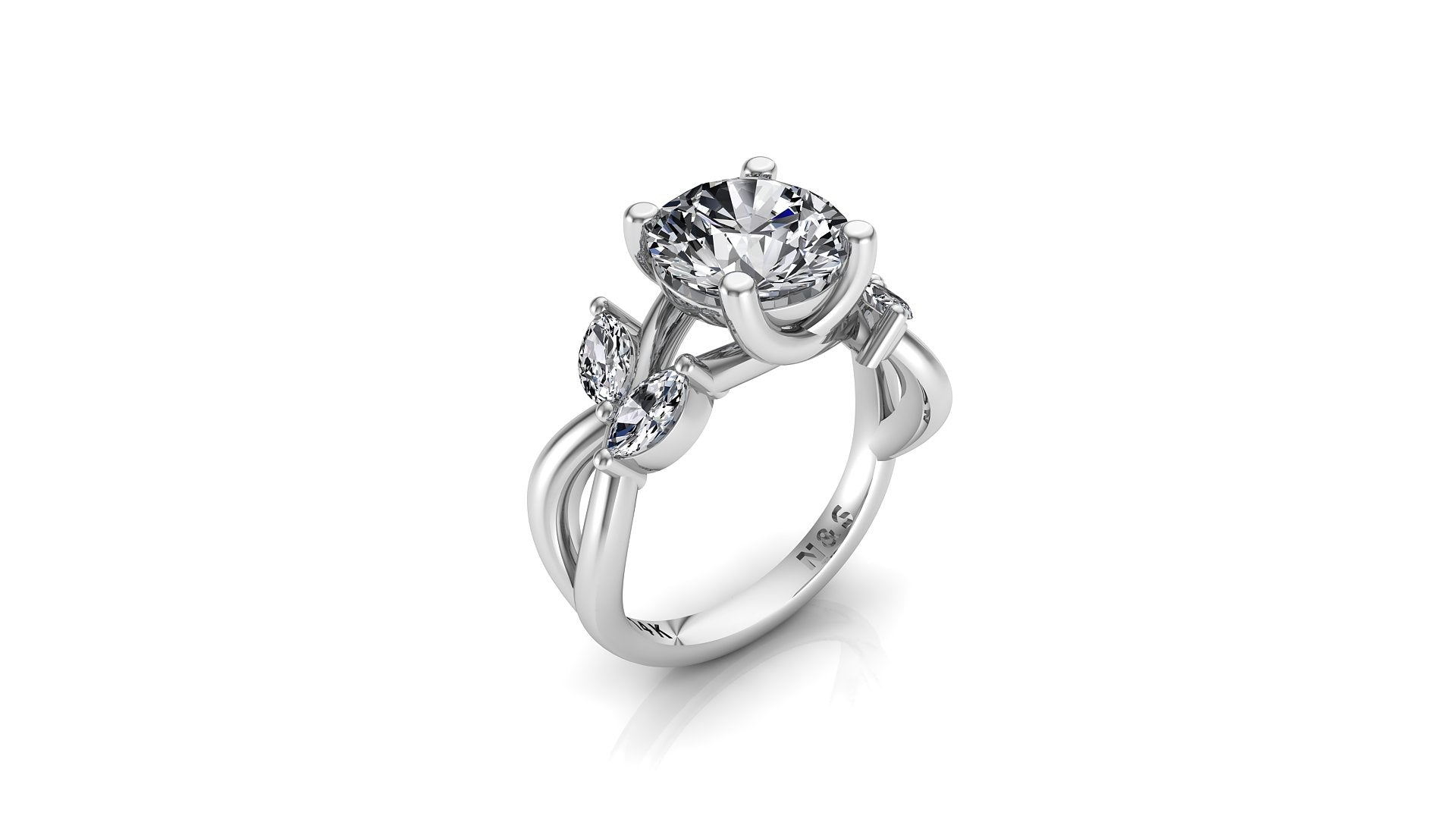 8mm (1.90ct) ForeverOne Round Moissanite Marquise-Nature Style Twist Band 14K Gold Engagement Ring MOENG007
