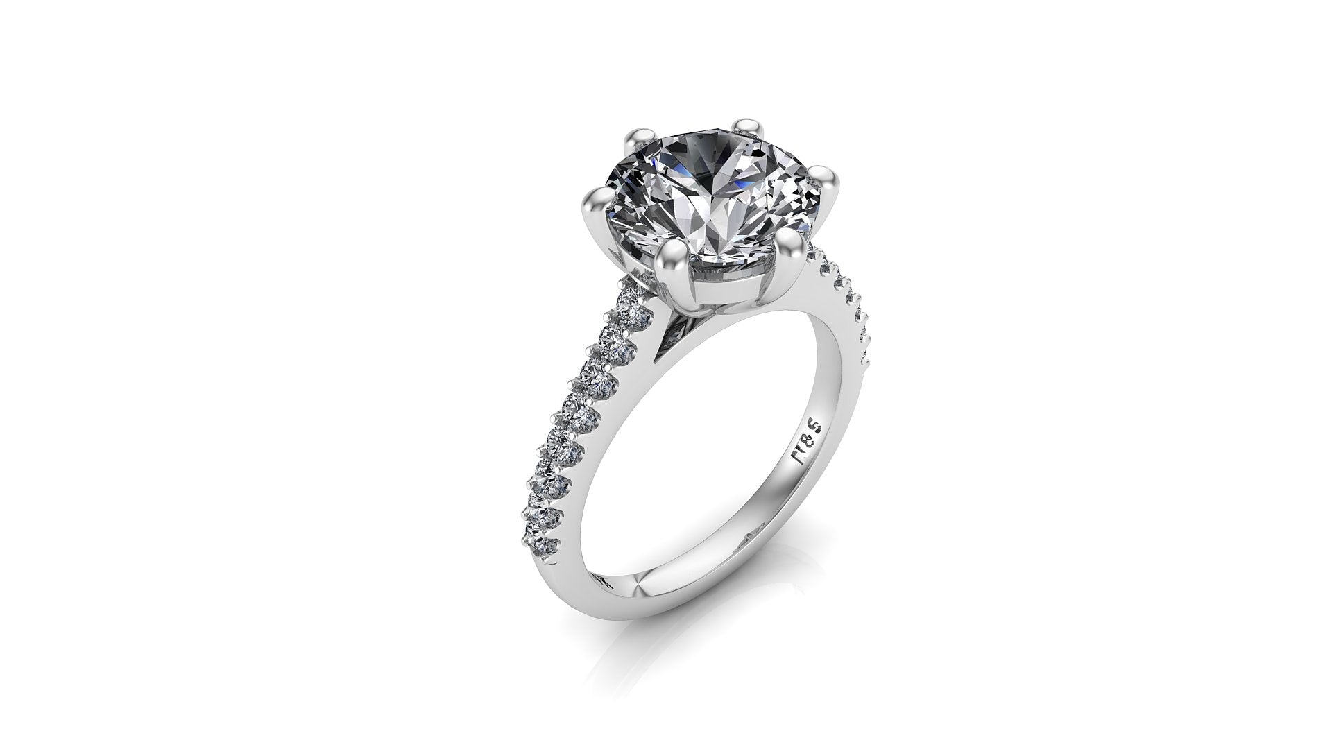 8.0mm (1.90ct) ForeverOne Round Moissanite Cathedral Set Engagement Ring 14K MOENG056