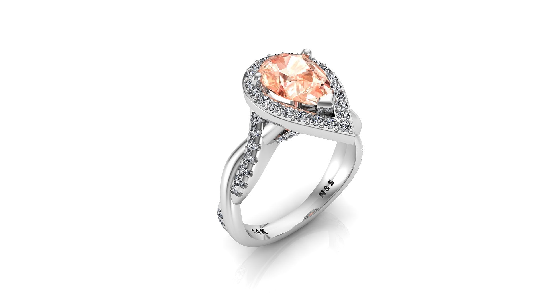 9x6mm (1.30ct) Single Diamond Twist Pear Cut Morganite Diamond Halo 14K Gold Ring BSAQ012