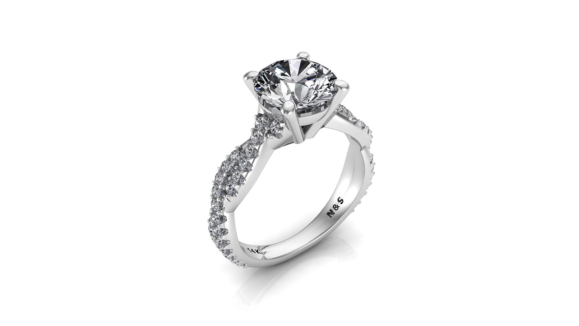 8mm (1.90ct) ForeverOne Round Moissanite Diamond Twist Band 14K Gold Engagement Ring MOENG058
