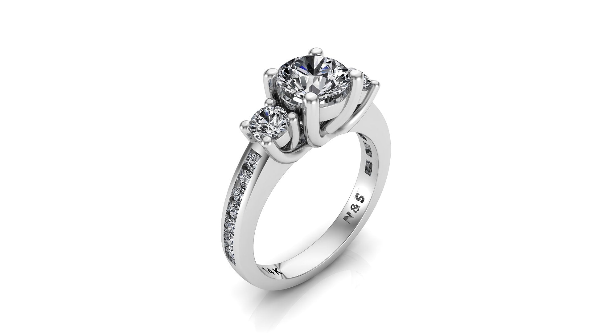 6.5mm (1.00ct) ForeverOne Round Moissanite Three Stone Channel Setting Band 14K Gold Engagement Ring MOENG044