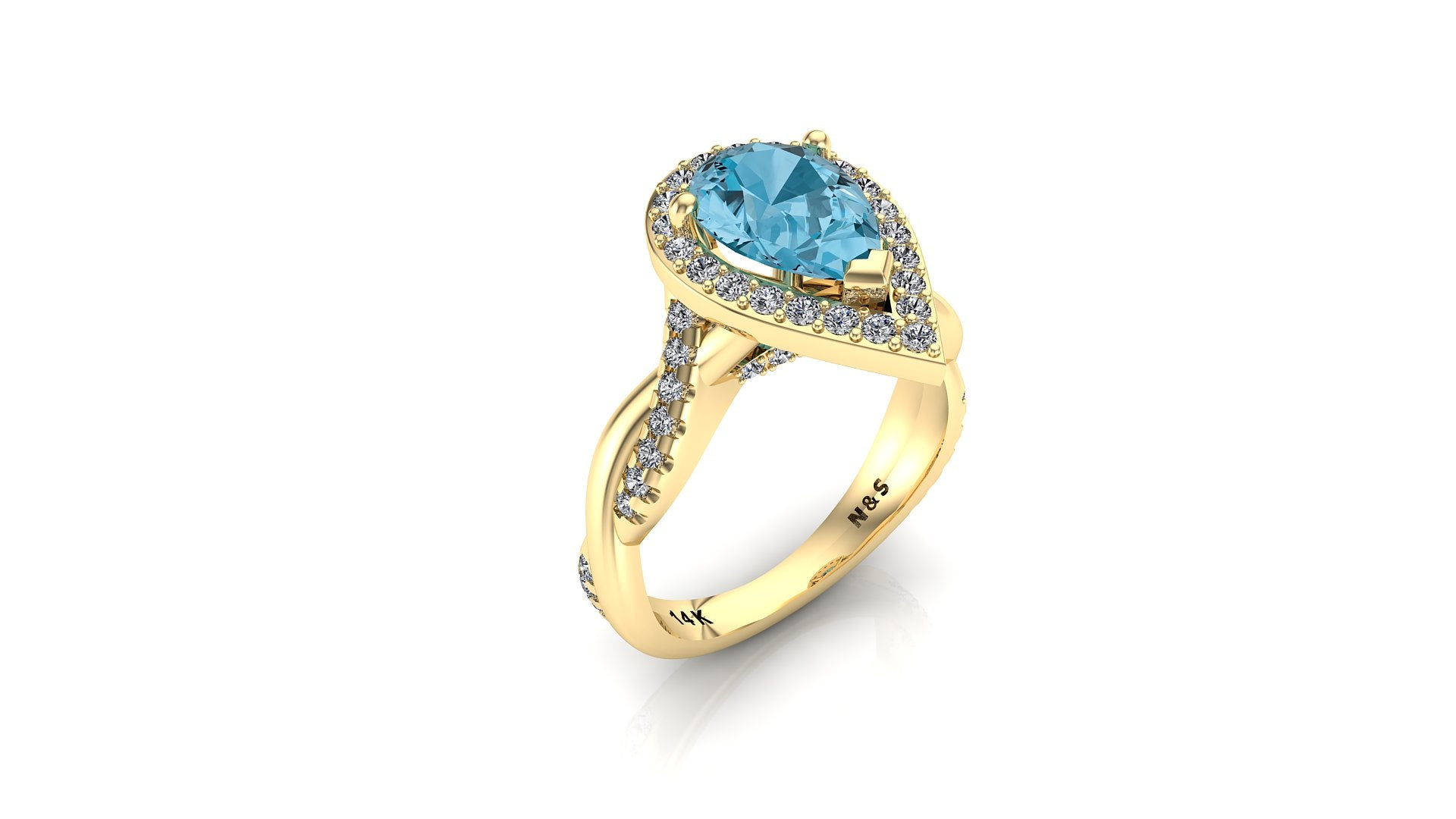 10x7mm (1.80ct) Single Diamond Twist Pear Cut Blue Topaz Diamond Halo 14K Gold Ring BSAQ017