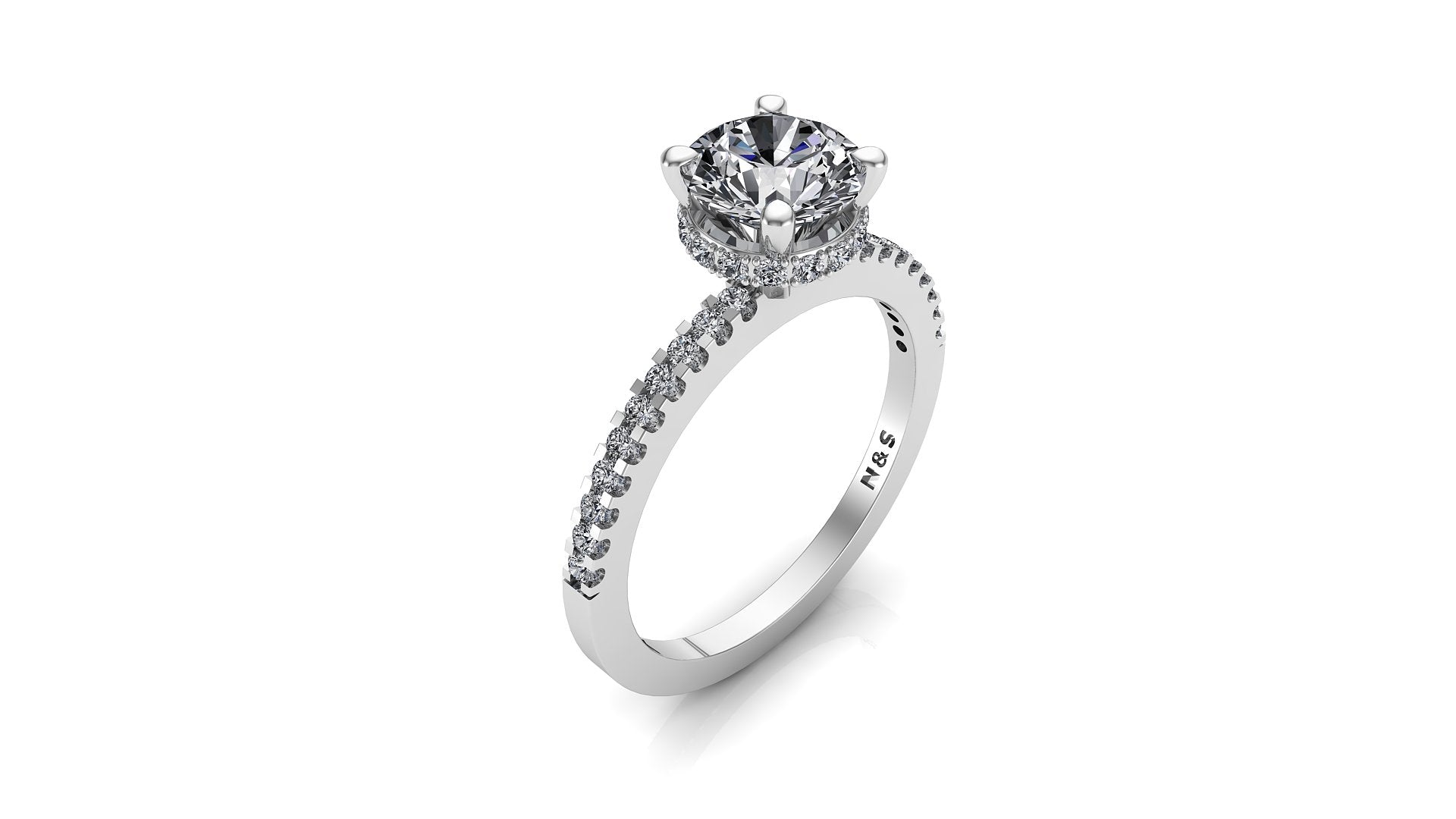 6.5mm (1.00ct) Katie ForeverOne Round Moissanite Diamond Underhalo Engagement Ring 14K Gold MOENG023