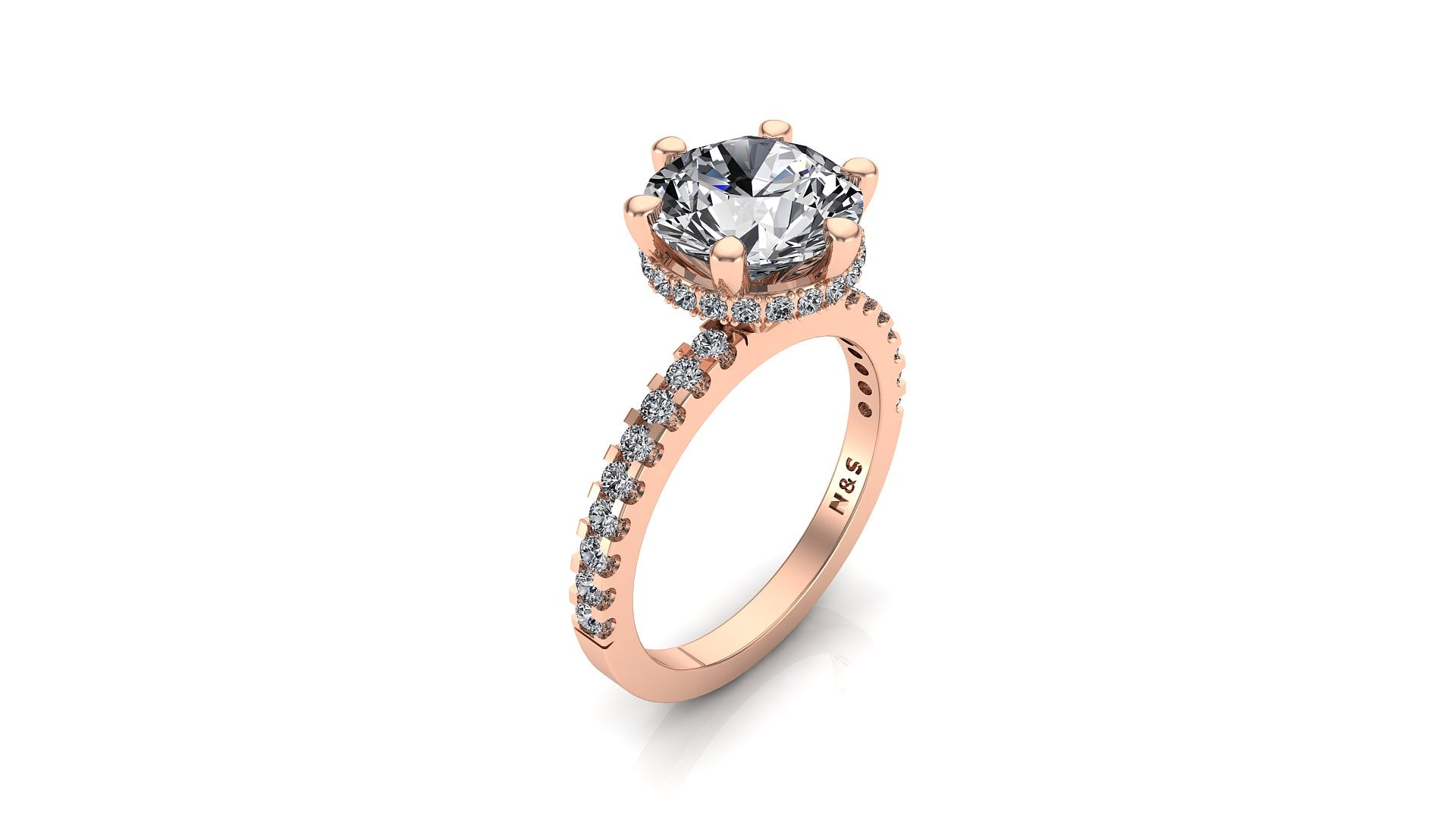 9mm (2.70ct) Katie ForeverOne Round Moissanite Diamond Underhalo Engagement Ring 14K Gold MOENG021