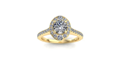 5.5mm (0.60ct)  ForeverOne Round Moissanite Diamond Halo Cathedral Set Engagement Ring 14K MOENG016