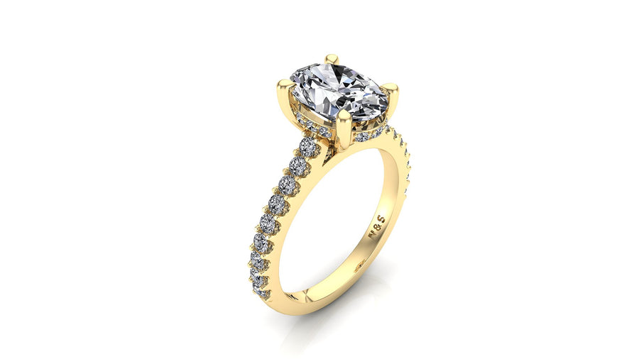 10x8mm (3.00ct) Rañe ForeverOne Oval Moissanite Under Halo Engagement Ring 14K Gold MOENG036