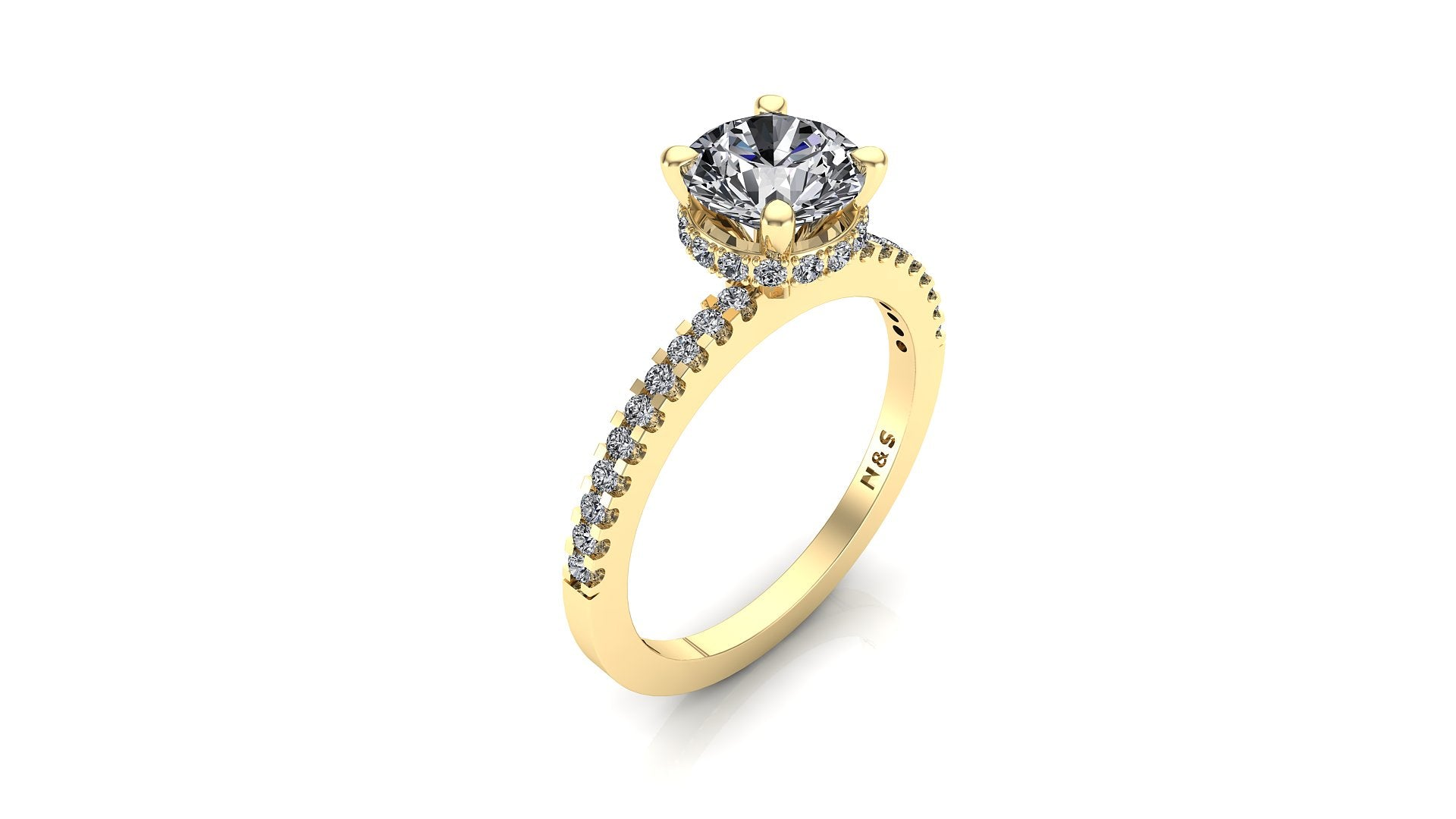 7mm (1.20ct) Katie ForeverOne Round Moissanite Diamond Underhalo Engagement Ring 14K Gold MOENG026
