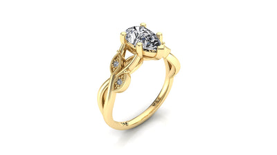 9x6mm (1.30ct) ForeverOne Pear Moissanite Marquise Style Milgrain Twist Band 14K Gold Engagement Ring MOENG008