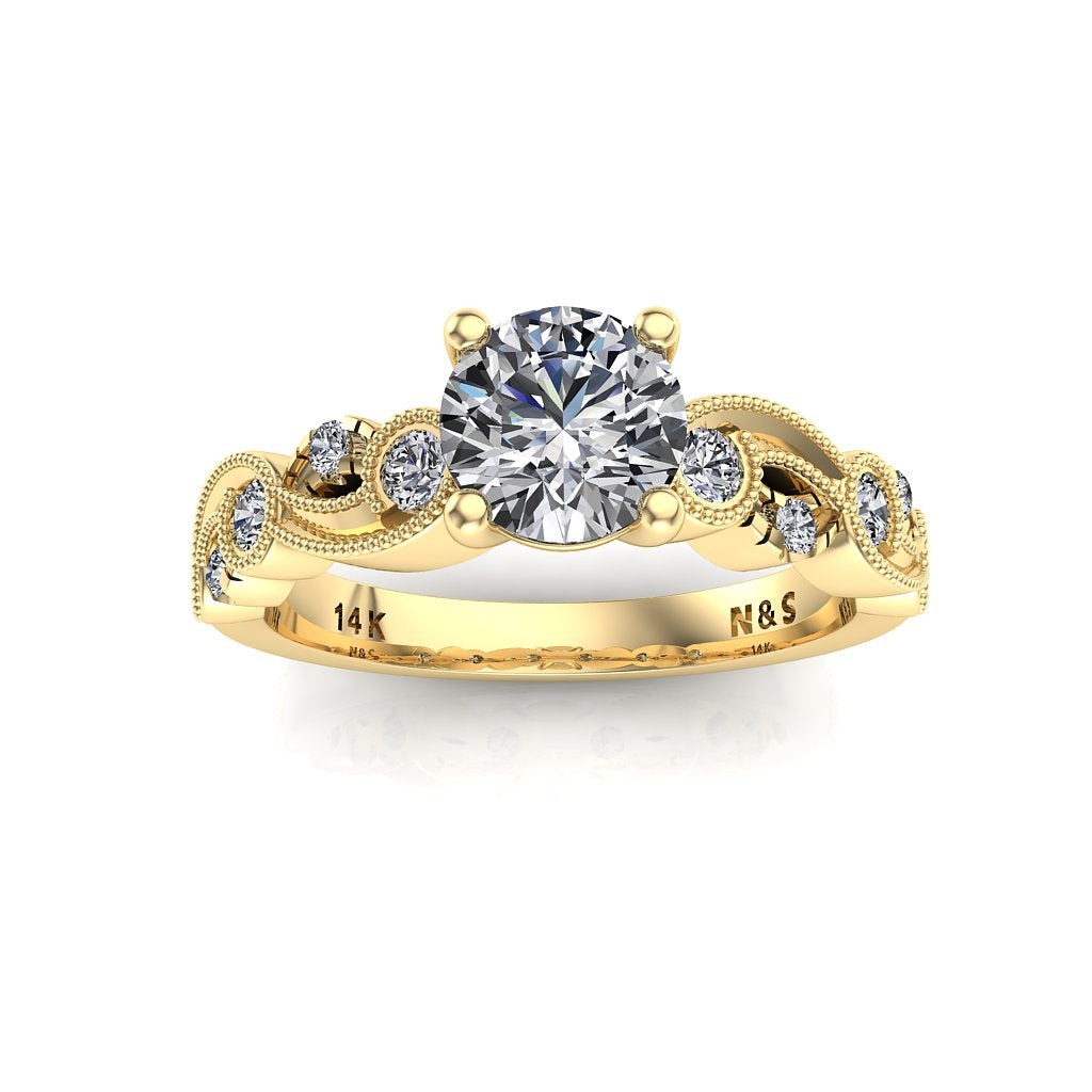 5.5mm (0.60ct) ForeverOne Round Moissanite Milgrain Design 14K Gold Engagement Ring MOENG060