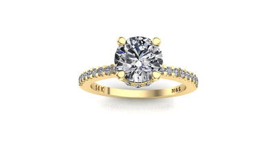 6mm (0.80ct) Katie ForeverOne Round Moissanite Diamond Underhalo Engagement Ring 14K Gold MOENG029