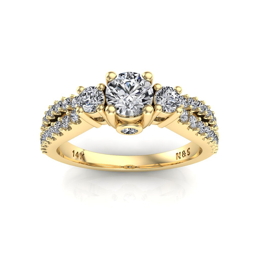 4.5mm (0.33ct) ForeverOne Round Moissanite Three Stone 14K Gold Engagement Ring MOENG059