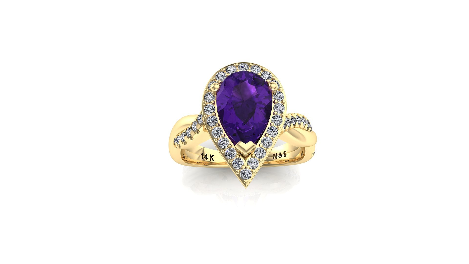 9x6mm (1.30ct) Single Diamond Twist Pear Cut Amethyst Diamond Halo 14K Gold Ring BSAQ010