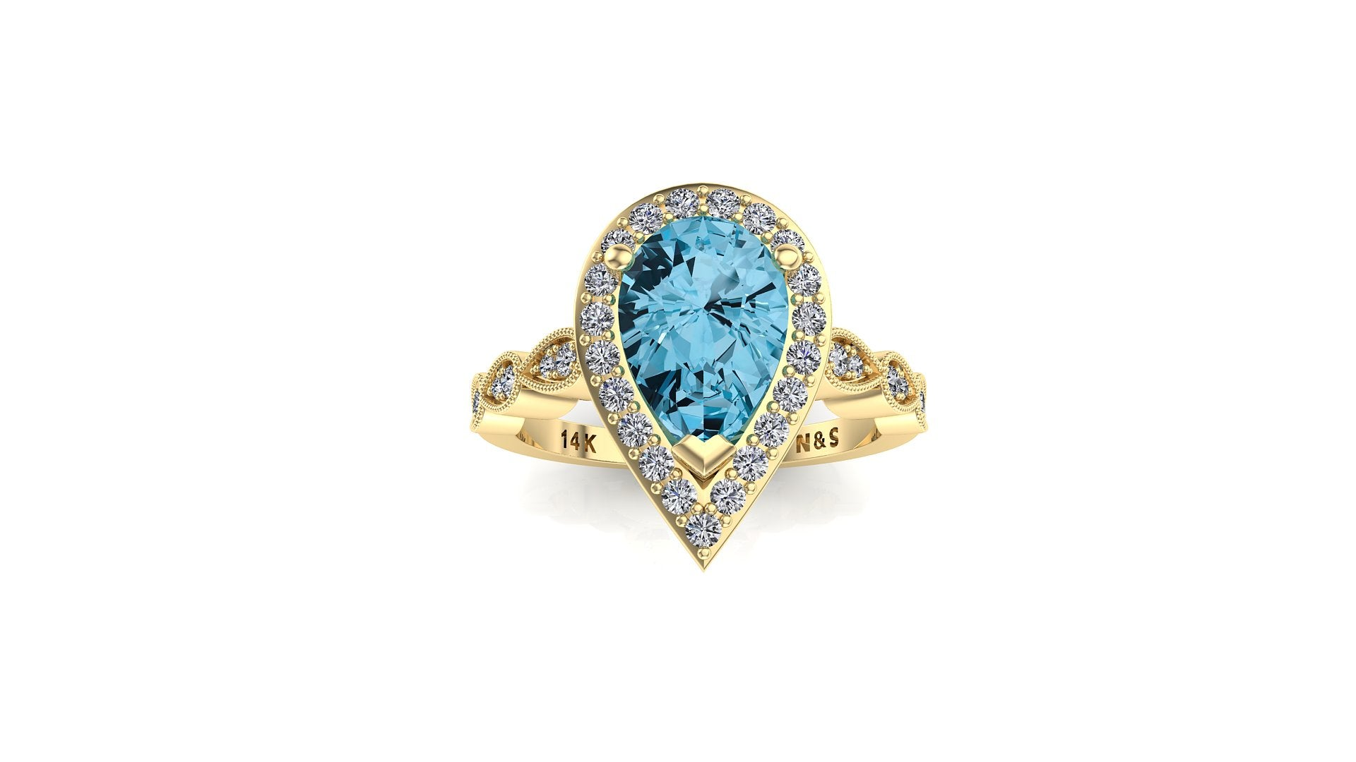 9x6mm (1.30ct) Milgrain Pear Cut Blue Topaz Diamond Halo 14K Gold Ring BSAQ009