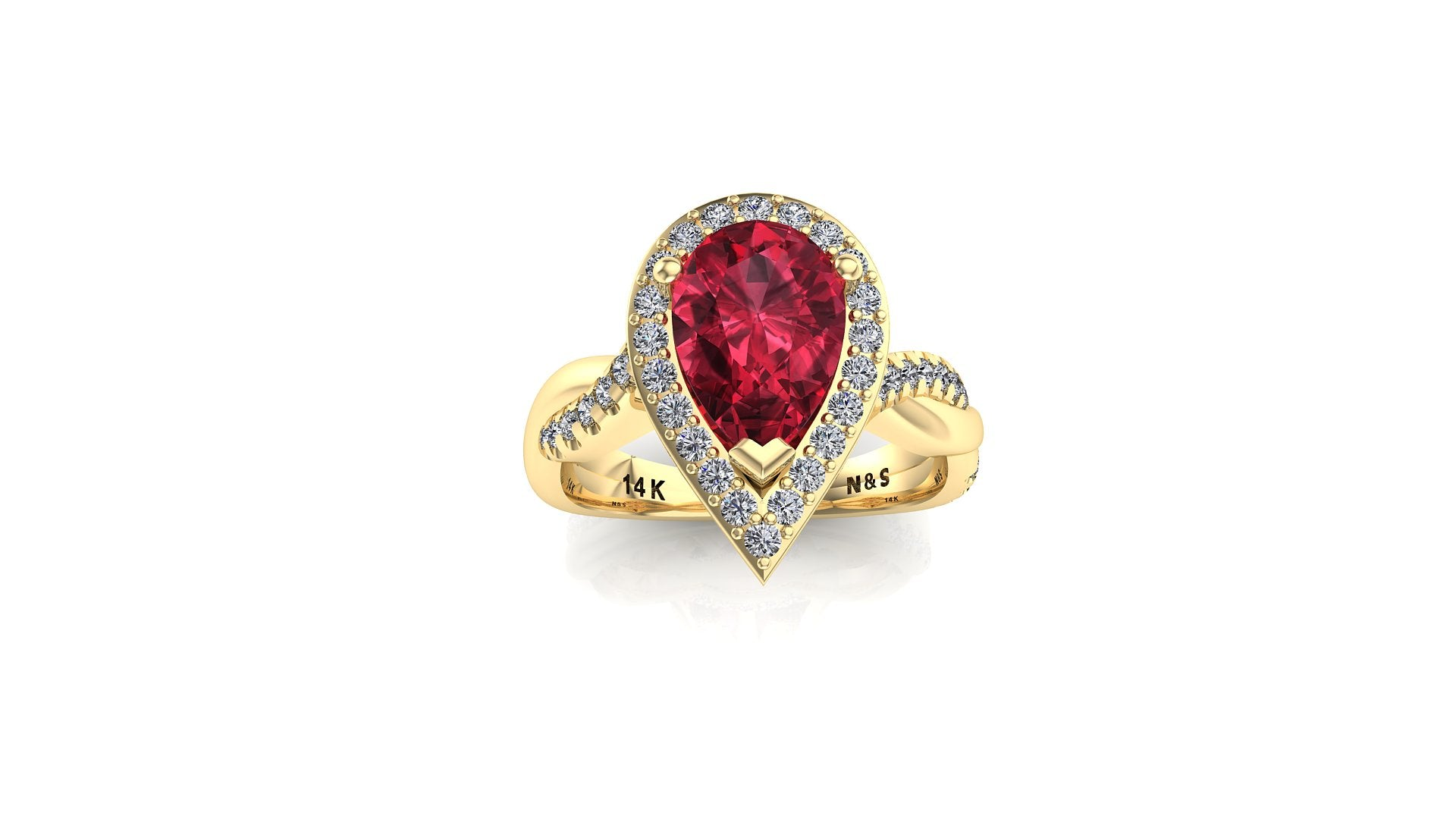 9x6mm (1.30ct) Single Diamond Twist Pear Cut Garnet Diamond Halo 14K Gold Ring BSAQ011