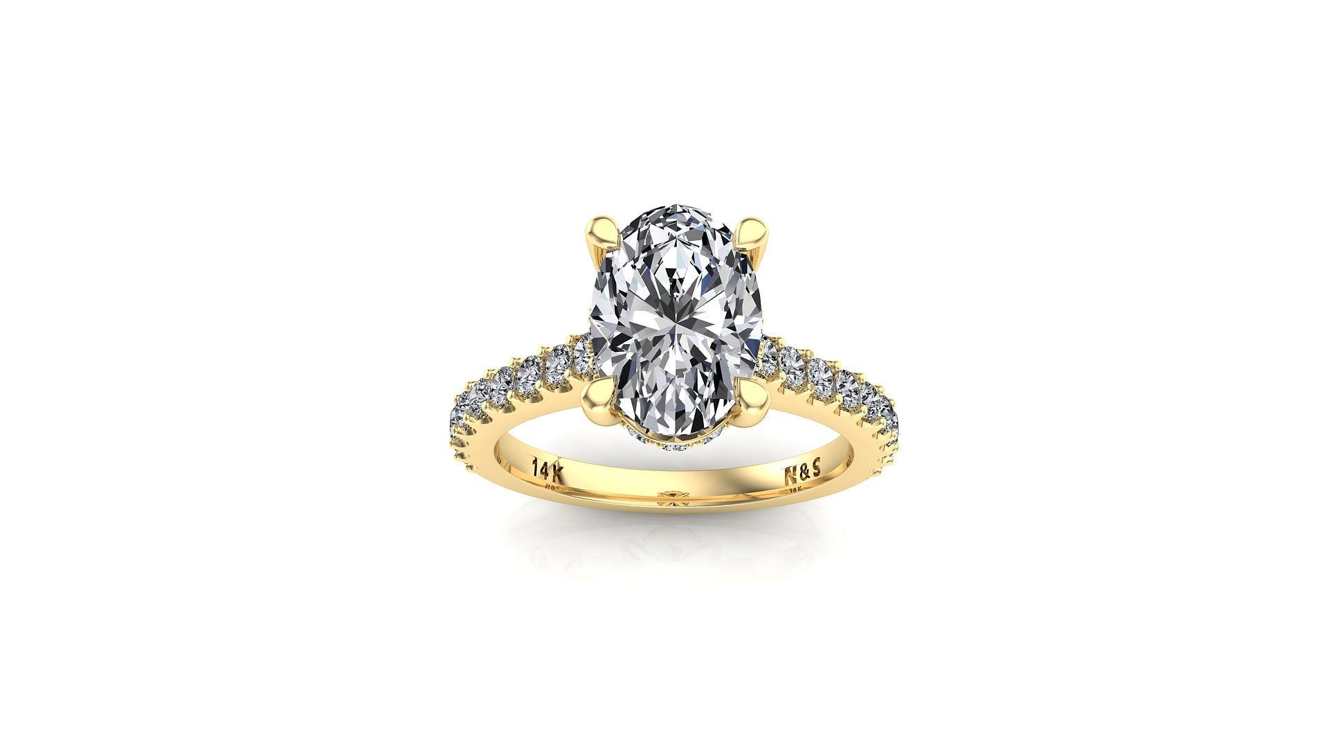 9x7mm (2.10ct) Jennifer ForeverOne Oval Moissanite Under Halo Engagement Ring 14K Gold MOENG033