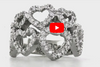 Double Row Hearts Diamond Ring 1.18 ct tw Round-cut 14K White Gold DIR009 - NorthandSouthJewelry