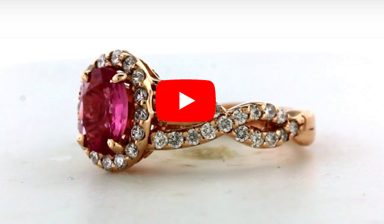 1.28 CT Oval Pink Sapphire Diamond Ring 0.85 CT TW 14K Rose Gold PSR005 - NorthandSouthJewelry