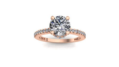 6mm (0.80ct) Monique ForeverOne Round Moissanite Diamond Underhalo Engagement Ring 14K Gold MOENG030