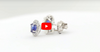 1.00 CT Ceylon Blue Sapphire Diamond Earring 0.28 CT TW 14K White Gold SER004 - NorthandSouthJewelry