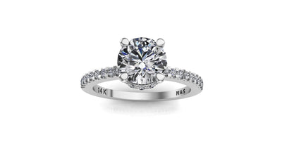 6mm (0.80ct) Rañe ForeverOne Round Moissanite Diamond Underhalo Engagement Ring 14K Gold MOENG028
