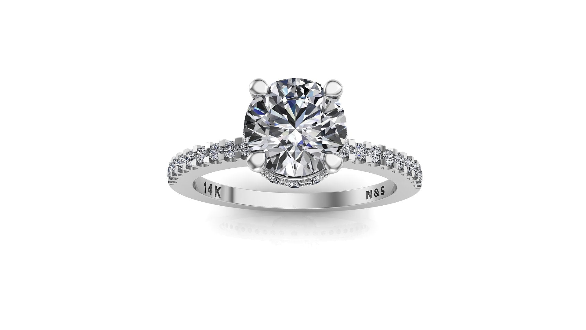 7mm (1.20ct) Rañe ForeverOne Round Moissanite Diamond Underhalo Engagement Ring 14K Gold MOENG025