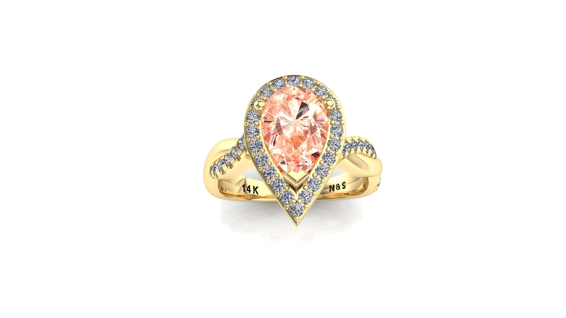 10x7mm (1.80ct) Single Diamond Twist Pear Cut Morganite Diamond Halo 14K Gold Ring BSAQ016