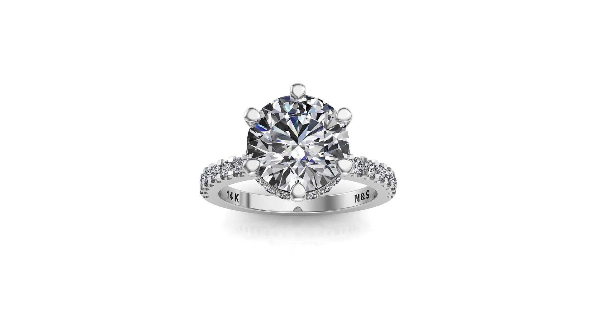 8mm (1.90ct) Monique ForeverOne Round Moissanite Diamond Underhalo Engagement Ring 14K Gold MOENG005