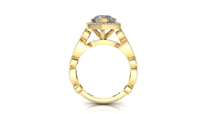 10x7mm (1.80ct) ForeverOne Pear Moissanite Round Marquise Style Milgrain Band 14K Gold Engagement Ring MOENG040
