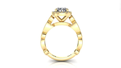 8x6mm (1.50ct) ForeverOne Oval Moissanite Round Marquise Style Milgrain Band 14K Gold Engagement Ring MOENG041