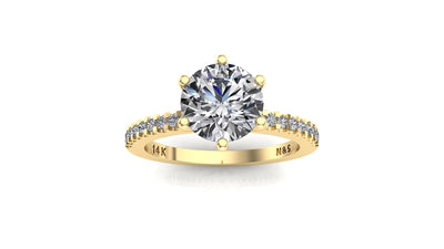 7mm (1.20ct) Rañe ForeverOne Round Moissanite Engagement Ring 14K Gold MOENG003