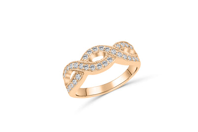 Criss-Cross Diamond Anniversary Band 0.37 ct tw Round-cut 14K Rose Gold BAN047