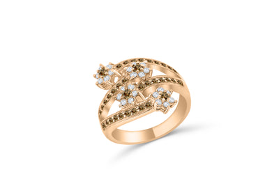 Chocolate Diamond Band 0.85 ct tw Round-Cut 14K Rose Gold BAN052 - NorthandSouthJewelry