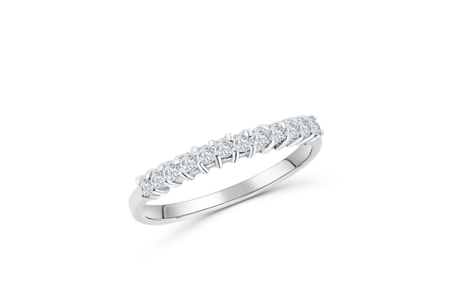 Diamond Wide Band 0.39 ct tw Round-Cut 14K White Gold BAN058 - NorthandSouthJewelry