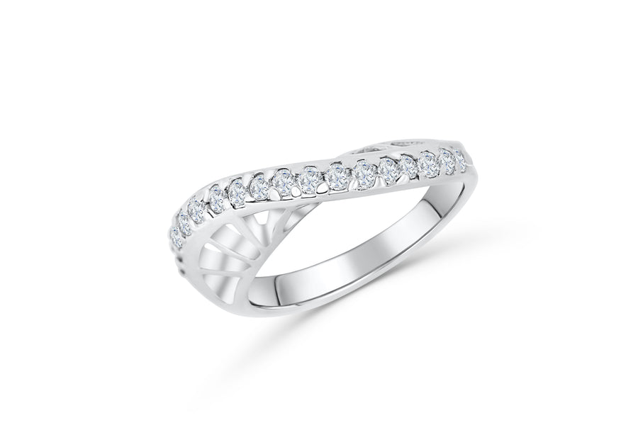 Diamond Wedding Band 0.49 ct tw Round-Cut 14K White Gold BAN059 - NorthandSouthJewelry