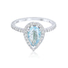 1.0-1.3 CT Pear Cut Aquamarine Diamond Halo 14K Gold Ring BSAQ2
