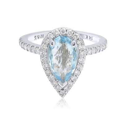 1.8-2.0 CT Pear Cut Aquamarine Diamond Halo 14K Gold Ring BSAQ4