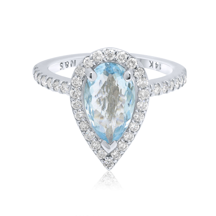 1.5-1.7 CT Pear Cut Aquamarine Diamond Halo 14K Gold Ring BSAQ3