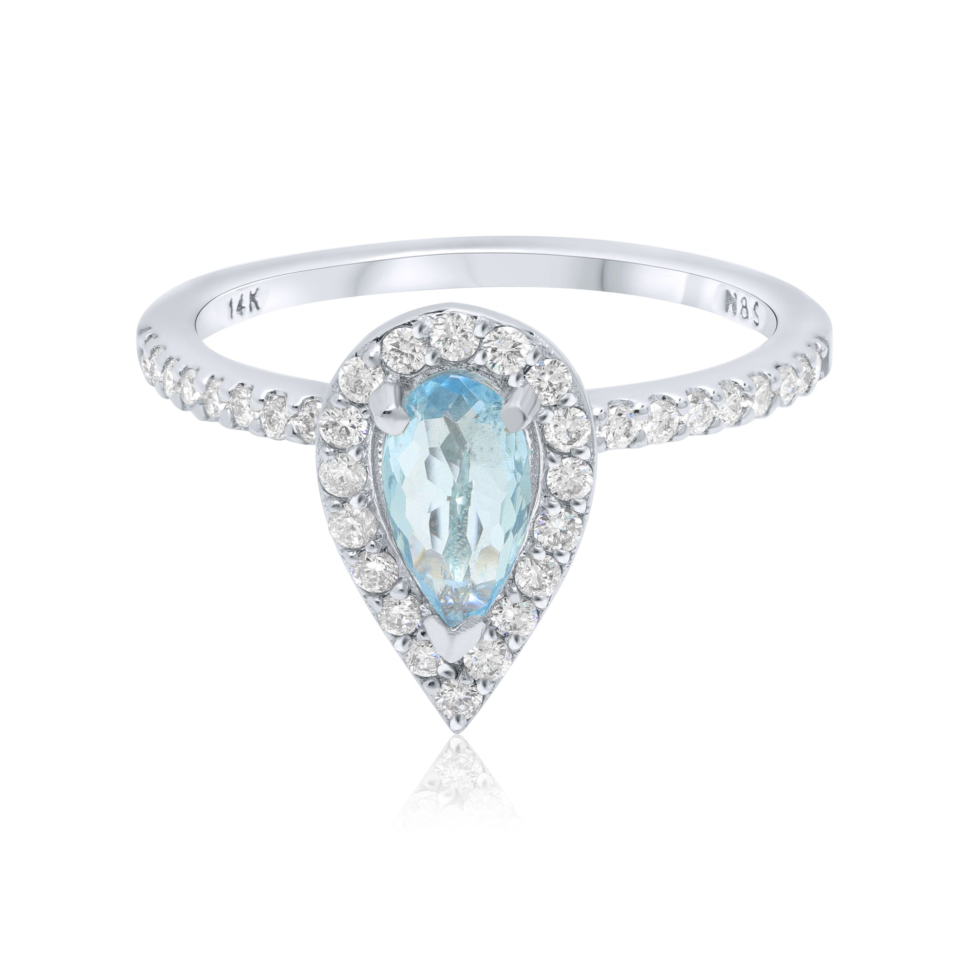 0.5-0.6 CT Pear Cut Aquamarine Diamond Halo 14K Gold Ring BSAQ1