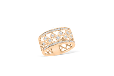 Weave Diamond Anniversary Band 0.61 ct tw Princess-cut 14K Rose Gold BAN041 - NorthandSouthJewelry
