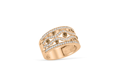 Chocolate Diamond Wide Band 1.42 ct tw Round-cut 14K Rose Gold BAN042 - NorthandSouthJewelry