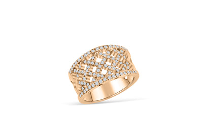 Weave Diamond Anniversary Band 0.73 ct tw Round-cut 14K Rose Gold BAN044 - NorthandSouthJewelry