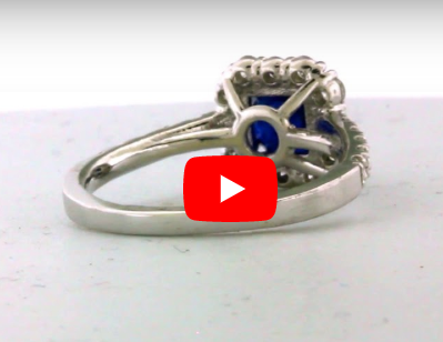 1.86 CT Sapphire Diamond Ring 0.93 CT TW 14K White Gold SPR001 - NorthandSouthJewelry