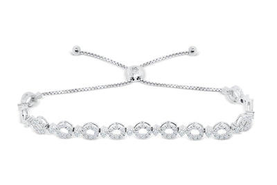 1.98 CT TW Bolo Adjustable Diamond Bracelet 14K White Gold DBR005 - NorthandSouthJewelry