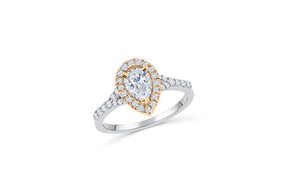 Two-Toned Pear Diamond Engagement Ring 1.72 ct tw 14K White/Rose Gold DENG011
