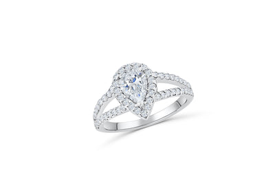V Split Pear Diamond Engagement Ring 2.10 ct tw 14K White Gold DENG012 - NorthandSouthJewelry