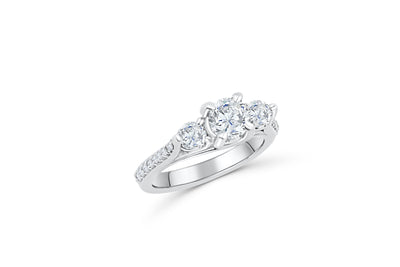 Three Stone Diamond Engagement Ring 2.14 ct tw 14K White Gold DENG017 - NorthandSouthJewelry