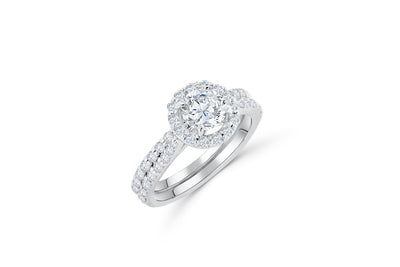 Diamond Engagement Ring Set 2.60 ct tw 14K White Gold DENG025 - NorthandSouthJewelry