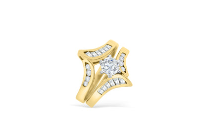 Diamond Engagement Ring Set 1.49 ct tw 14K Yellow Gold DENG030 - NorthandSouthJewelry