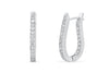 0.95 CT TW Round Diamond Hoop Earrings 14K White Gold DER001