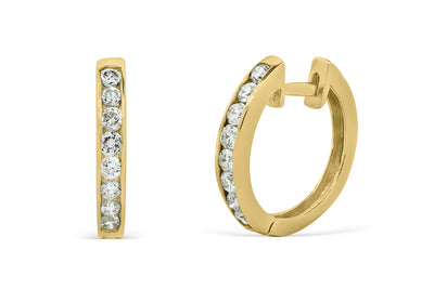 0.41 CT TW Round Diamond Hoop Earrings 14K Yellow Gold DER007 - NorthandSouthJewelry